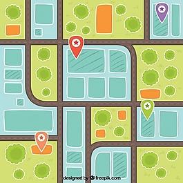 城市地图插图背景