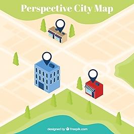 透视城市地图背景
