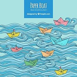 波浪起伏的彩色背景和彩色纸船