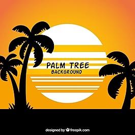夏季景觀背景與棕櫚樹剪影