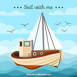 美丽的背景与船和鸟
