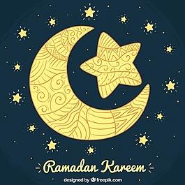 月斋月背景与观赏星