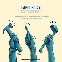 勞動節手和工具手繪背景