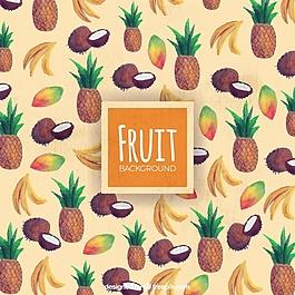 熱帶水果裝飾背景