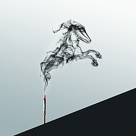 水墨风格烟雾马