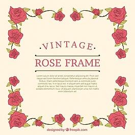 手繪玫瑰裝飾復古畫框