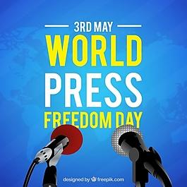 蓝色世界新闻自由日背景
