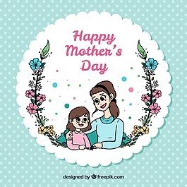 波爾卡圓點背景與快樂母女