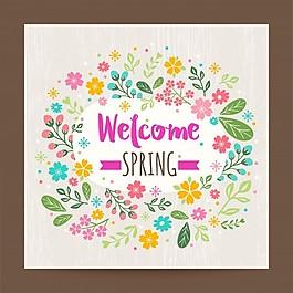 歡迎春天花卉背景