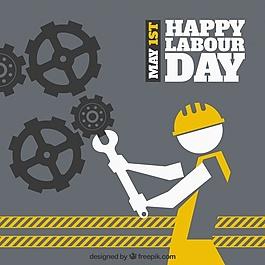 勞動日背景與齒輪和工人