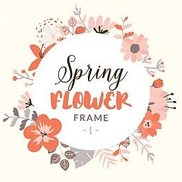 帶裝飾春花的圓框