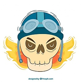 頭盔和火焰的頭骨背景
