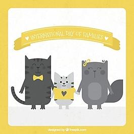 国际家庭日猫的复古背景