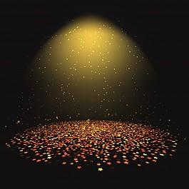 在聚光燈下的五彩紙屑