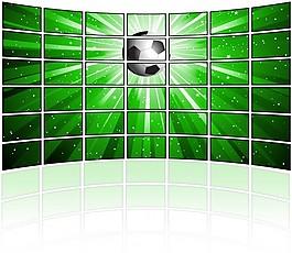 带有足球图像的电视屏幕墙