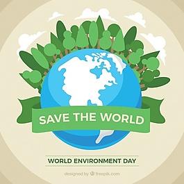 世界环境日的背景是绿树和地球