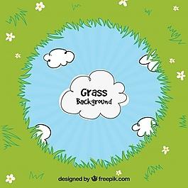 草框和云的自然背景