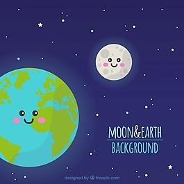 天空背景与地球和月亮