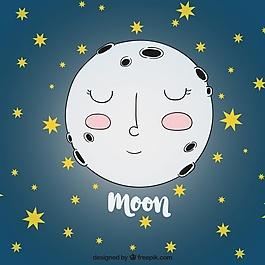 手繪月亮背景和星星