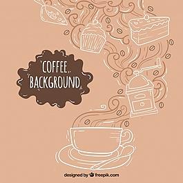 手繪背景咖啡杯和糖果