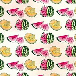 甜瓜和西瓜的美麗圖案