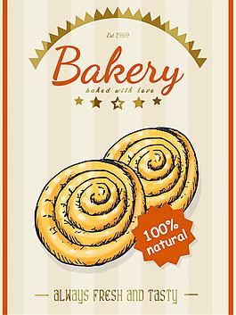 圆环面包美食海报图片