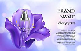 紫色花朵化妝品海報圖片