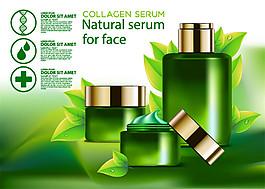 绿叶上的绿色护肤品海报图片
