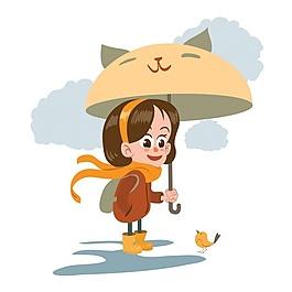 帶傘背景的女孩