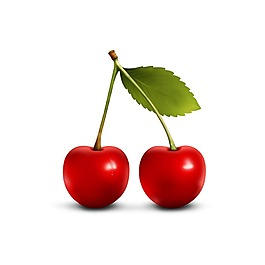 新鮮紅色櫻桃元素