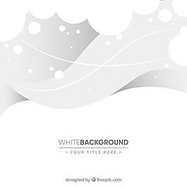 波浪和圓圈的白色背景