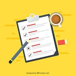 黃色背景與清單和咖啡杯