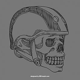 骷髅头骨背景带头盔