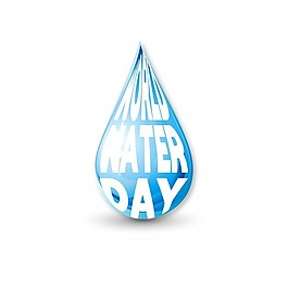 白色背景与蓝色滴水为世界水日