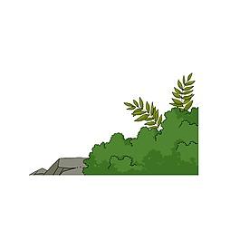 手繪綠色大樹葉子元素