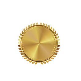 黄色圆形奖牌元素