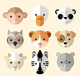 可愛動物頭像矢量
