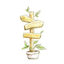 手绘花盆标识牌元素