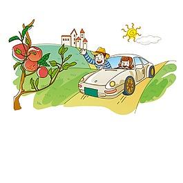 卡通汽车山坡果树元素