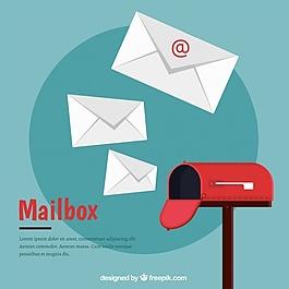 一组红色的邮箱。
