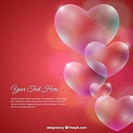 鲜红透明的心背景