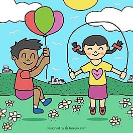 户外玩耍儿童的手绘背景