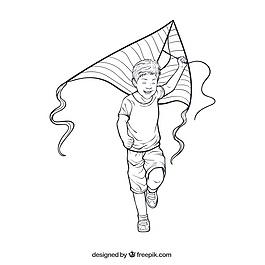 微笑的男孩在玩他的风筝