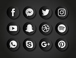 黑色背景下社交網絡圖標