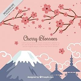 山、枝、櫻花背景