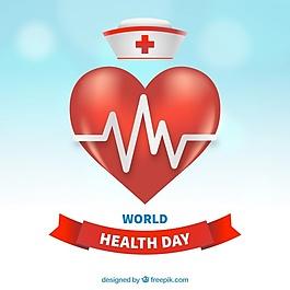世界衛生日背景與心和護士帽