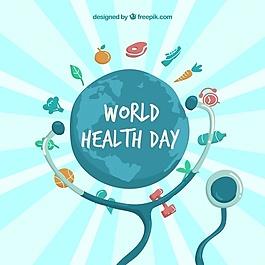 健康食品和聽診器的世界背景