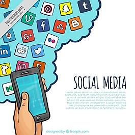 帶有手繪社交網絡圖標的手機背景