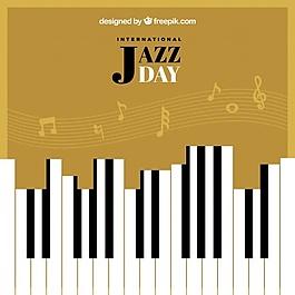 復古爵士節背景與鋼琴鍵和五角星