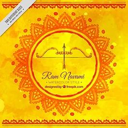 RAM navami喜庆弓黄色水彩背景